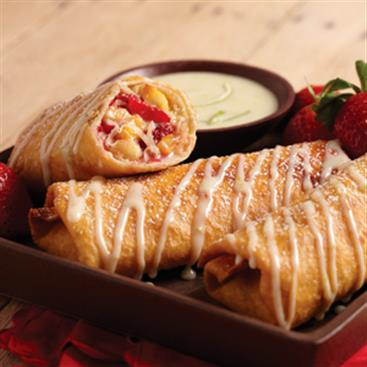 Fruit Chimichangas with Creamy Lime Drizzle